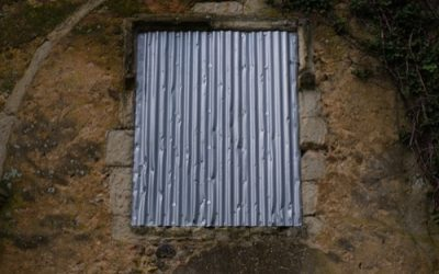 Corrugated metal covering window texture M50